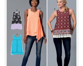 McCall's Pattern M7389 Misses' Sleeveless Tops with Overlays
