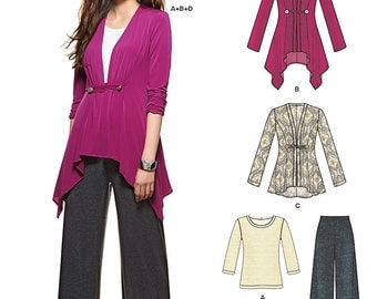 OUT of PRINT New Look Pattern 6330 Misses' top, pants with elastic waist and long sleeve cardigan