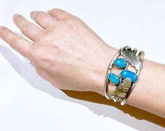 Old Navajo Sterling Silver bright blue Turquoise Bracelet