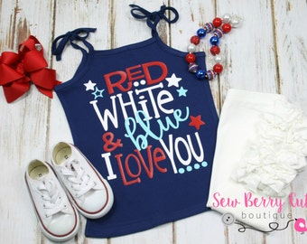Red White & Blue I Love You Tank Top Patriotic 4th of July Fourth of July