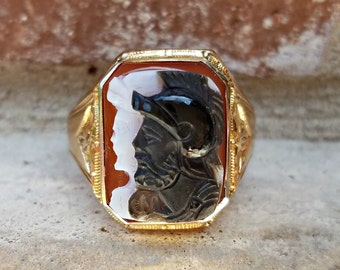 Antique Intaglio Cameo with Carnelian /Sardonx and Onyx Centurion Roman Soldier Great for Statement Ring or Men's Ring