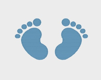 """Baby Feet Design Embroidery file in 6 sizes (1"""", 2"""", 3"""", 4"""", 5"""" & 6"""") in Multiple file formats - INSTANT DOWNLOAD -  Item #8030"""