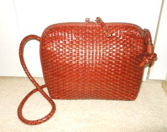 Vintage woven leather Preston & York shoulder/cross body bag