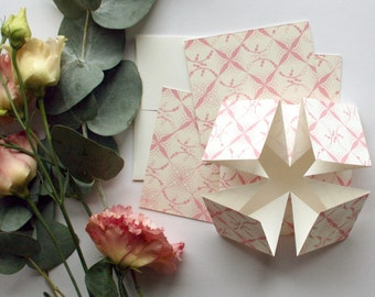 Blush Origami wedding invitation, RSVP card and information card SAMPLE*