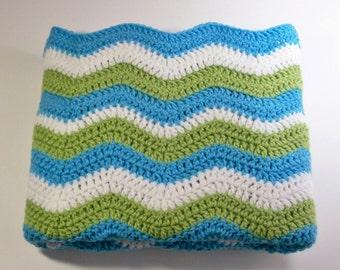 Crocheted Baby Blanket, Baby Ripple Afghan, Toddler Afghan, Blue, Green, and White Blanket