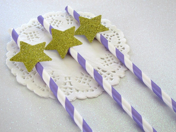 Twinkle Twinkle Little Star Decor Lavender and Gold Twinkle Little Star Party Decor Lavender Gold Party Lavender Gold Straws Star Straws
