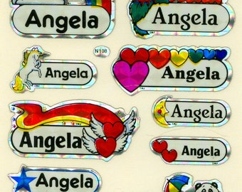Name Stickers for girls and boys!  FREE SHIPPING sparkly shiny prism!  Vintage.