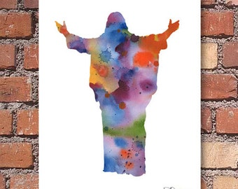Jesus Art Print - Abstract Watercolor Painting - Spiritual Wall Decor