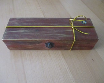 Wooden box decorated brown color / Nazar Turkey / pencil.case / eye luck