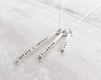 Triple Bar Necklace in Sterling Silver
