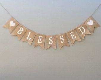 Blessed Burlap Banner,Thanksgiving Burlap Banner, Thanksgiving Decor