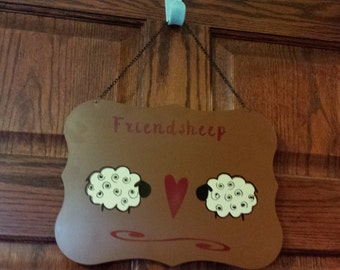 Whimsical Prim Friendsheep Metal Plaque