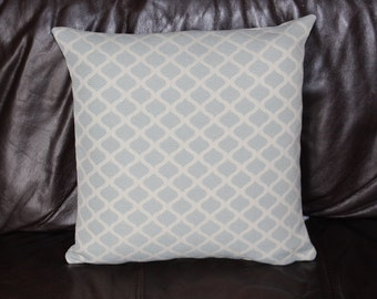 Handmade Cushion Cover Morrocan ethnic woven design in duck egg blue & cream