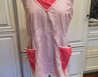 Vintage Red and White Polka Dot Full Apron, 1940's