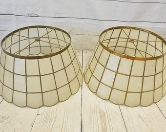 Pair of Vintage Capiz Shell & Brass Lampshades, Scalloped Edge