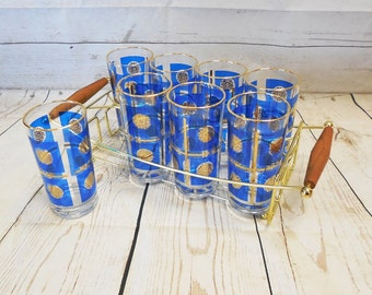 Set of 8 Blue & Gold Highball Glasses Tumblers in Rack Culver? Briard?