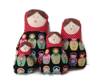 LITTLE GIRL GIFT//babushka doll set of 4//red and black matroyshka doll//fabric dolls//little girl gift ideas