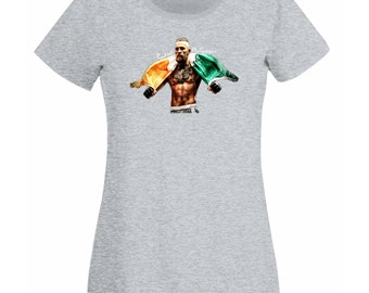Womens T-Shirt Conor McGregor MMA Champion / Fighter Club Shirt / Notorious Tshirt / Stunning Colorful Picture Tee Shirt + Free Decal Gift