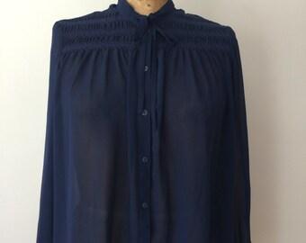 Sheer blue tie neck blouse vintage 70's