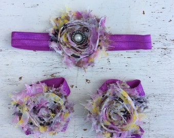 Baby headband and Barefoot sandals; baby barefoot sandals; purple floral  sandal; toddler barefoot sandal; sandal