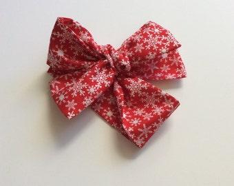 Red snowflake baby headwrap- snowflake- baby headwrap- christmas
