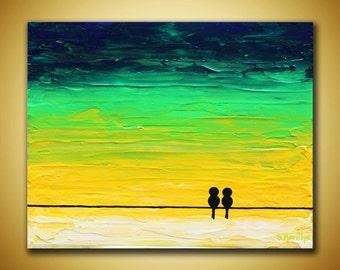 Love birds Painting Original birds art Blue Green absstract 8x10 Canvas art Birds on wire Art Textured painting Love gift Yellow green art