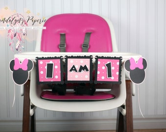 Minnie Mouse Birthday Banner, I am 1 banner, I am one, High chair banner