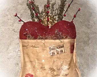 Made To Order: Primitive Heart Valentine pocket