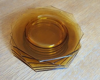Set of 6 Octagonal Amber Glass Salad Plates