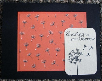 """Handmade Sympathy Card in Black and Coral featuring dandelion and phrase """"sharing in your sorrow"""""""