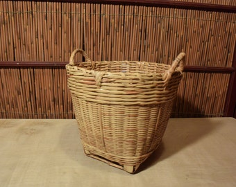 Vintage Chinese Bamboo Round Basket With 2 Handles