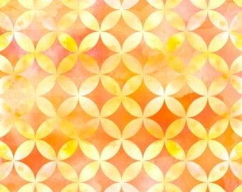 Sun Kissed Floral, Orange and Yellow Circle Geo cotton fabric by Quilting Treasures