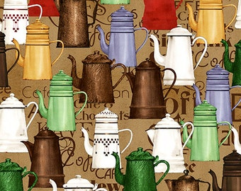 Coffee and Tea Pots Cotton Woven Fabric by Quilting Treasures