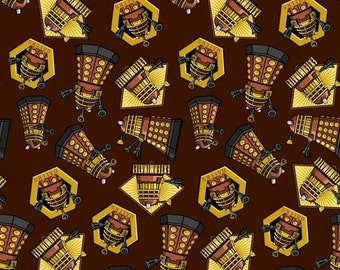 Dr. Who Exterminate Daleks Cotton Fabric on Brown