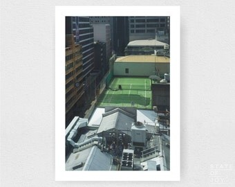city - tennis - urban photograph - buildings - abandoned - wall art - portrait - square prints | LARGE FORMAT PRINT