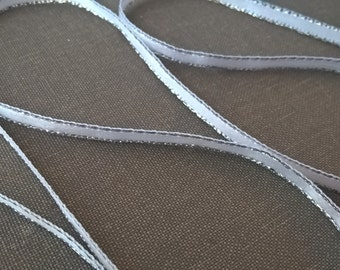 3mm White Double Sided Silver Edge Satin Ribbon