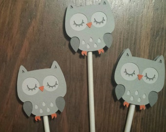 Owl Baby Shower, Owl party, Grey Owl Shower - Cupcake Toppers - Grey
