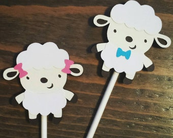 Gender Neutral Lamb Baby Shower - Lamb Cupcake Toppers - Lamb Decorations - Sheep Cupcake Toppers - 1 dozen