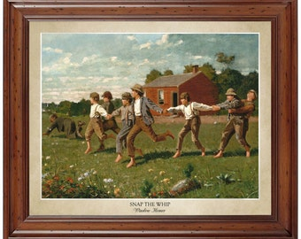 Snap the Whip by Winslow Homer (1872); 16x20 print displaying the artist's name and title of painting