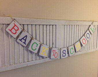 Back to School Sign Banner Garland Bunting Primary Colors Welcome Back New School Year Teacher Gift