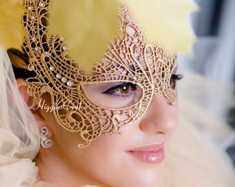 Masquerade Ball Mask made of embroidery lace for comfort and long wear at Masquerade Balls & Prom