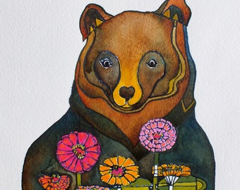 Artist Giclee Print of Water Color Painting by Jenn Rawling. 'Bear & Zinnia'