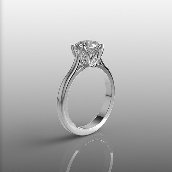 14k white gold engagement ring 7mm white topaz ring