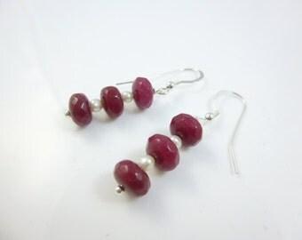 Ruby Earrings, Sterling Silver Dangle Earrings, Gemstone Earrings,  Ruby Dangle Earrings, Red Earrings