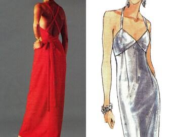 VOGUE 1498 Size 12-14-16 GIVENCHY Paris Original Mock Back Wrap Dress Cross-Over Straps Sewing Pattern ~ Vintage ©1994 Uncut