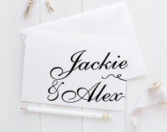 Script Custom Name Thank You Card Set, Elegant and Whimsical Bridal Shower or Wedding Thank Yous