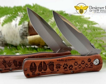 Wildlife of America Engraved Tracker Knife - Exclusive Design - Collectible! - Choose from Two Styles - Great for Summer Camping and Hiking!