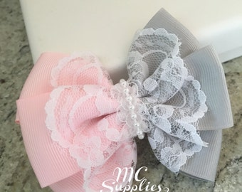 Pink bow,ribbon bow,headband bow,baby headband bow,fabric bow,flower girl bow,boutique bows,lace bow,baby hat bow,fabric bow applique,59