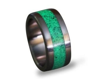 Glow In The Dark Ring, Titanium Men's Ring, Malachite and Glow In The Dark Powder Ring