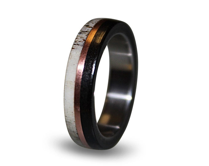 Titanium Men's Ring, Deer Antler and Ebony Wood, Patina Copper Middle Wood Ring, Antler Ring